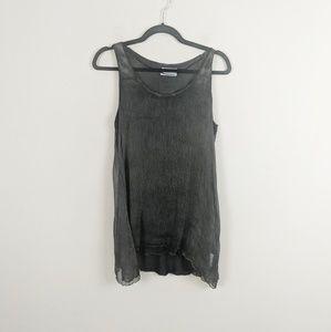 Zara Woman • Gray Silk Tunic Blouse